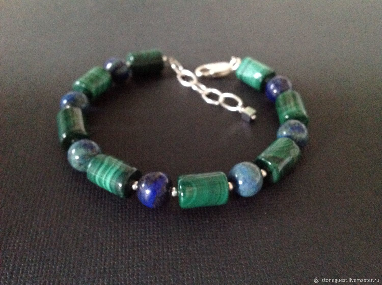 Men's silver bracelet of malachite and azurite, Rosary bracelet, Moscow,  Фото №1