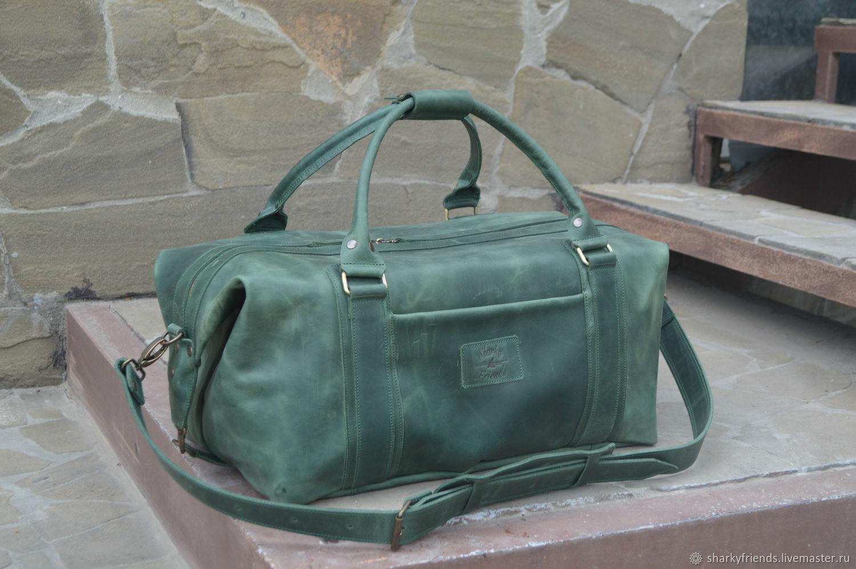 Кожаная дорожная сумка, Зеленая большая спортивная сумка, Спортивная сумка, Днепр,  Фото №1