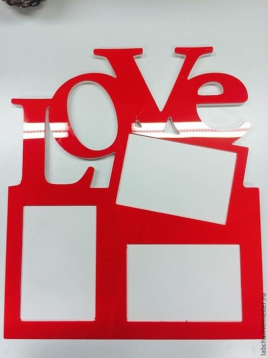 Интерьерные слова ручной работы. Ярмарка Мастеров - ручная работа. Купить Фоторамка LOVE. Handmade. Ярко-красный, фоторамка
