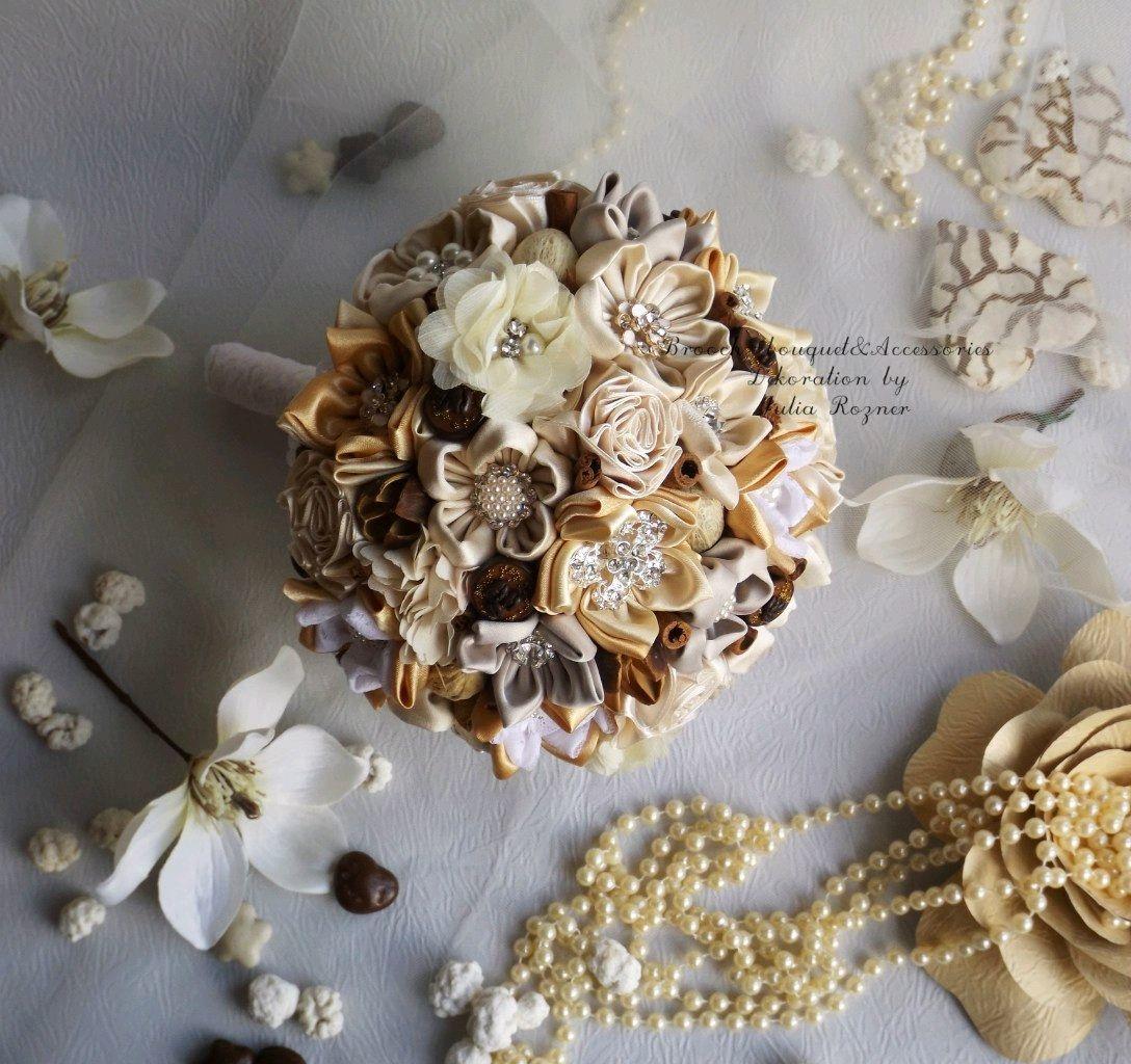 Wedding brooch bouquet in natural rustic style beige bouquet shop wedding flowers handmade livemaster handmade buy wedding brooch bouquet in natural rustic style izmirmasajfo