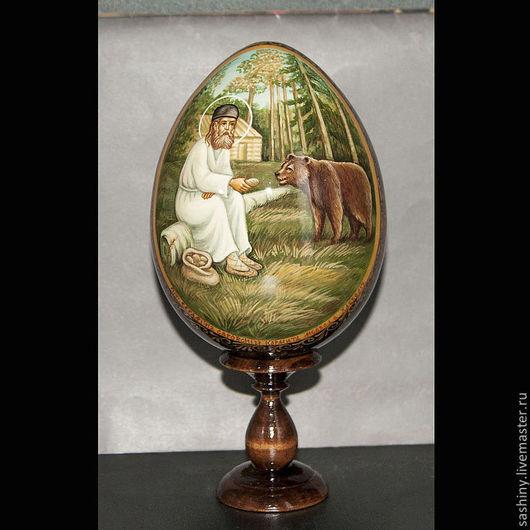 Яйца ручной работы. Ярмарка Мастеров - ручная работа. Купить Пасхальное яйцо Образ Серафима Саровского ручная роспись. Handmade.