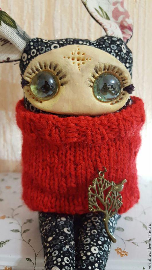 Коллекционные куклы ручной работы. Ярмарка Мастеров - ручная работа. Купить Заяц из текстиля с большими глазами. Handmade. Серебряный