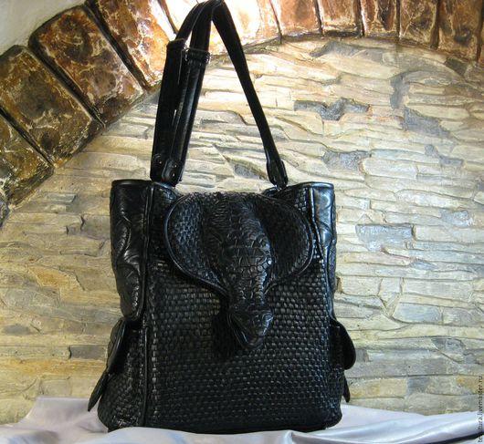 """Рюкзаки ручной работы. Ярмарка Мастеров - ручная работа. Купить Плетёный  кожаный рюкзак """"Змеи"""". Handmade. Плетеный рюкзак"""