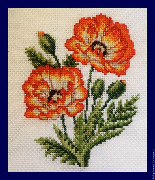 """Картины цветов ручной работы. Ярмарка Мастеров - ручная работа. Купить Вышивка крестом """"Красные маки"""". Handmade. Подарок, цветы"""