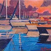 Картины и панно handmade. Livemaster - original item Oil painting. The Port Of Sochi. yachts. Handmade.
