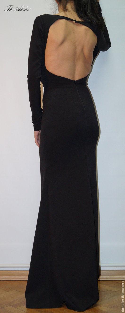 Платья ручной работы. Ярмарка Мастеров - ручная работа. Купить Платье с открытой спиной/Экстравагантное платье/F1429. Handmade. Черный, платье на заказ