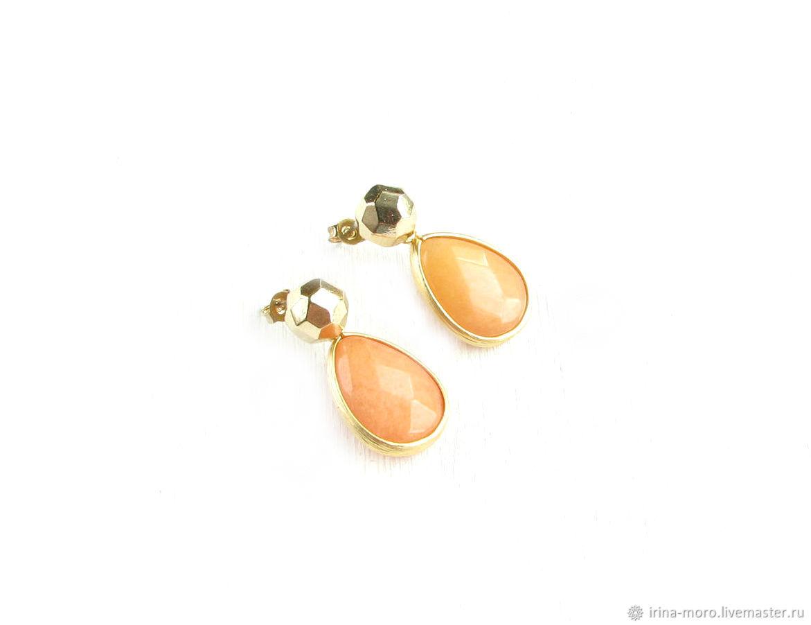 Orange jade earrings 'Autumn radiance' carnation earrings, Earrings, Moscow,  Фото №1