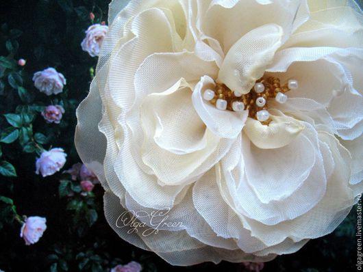 Броши ручной работы. Ярмарка Мастеров - ручная работа. Купить Брошь Староанглийская роза ванильного цвета. Handmade. Светло-желтый