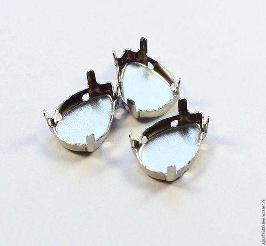 Для украшений ручной работы. Ярмарка Мастеров - ручная работа. Купить Оправы 14х10 мм сеттинги для кристаллов Капля цвет серебро. Handmade.
