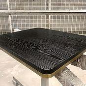 Столы ручной работы. Ярмарка Мастеров - ручная работа СТОЛЕШНИЦА черный ясень с латунью. Handmade.
