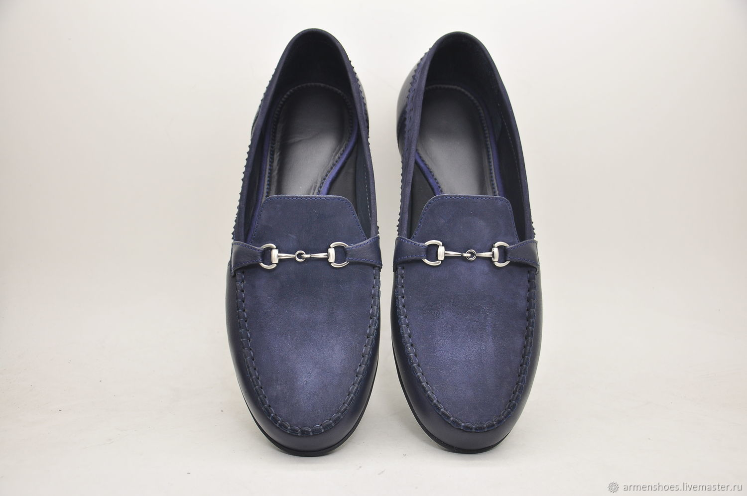 Handmade loafers, suede leather, blue color, Moccasins, Tosno,  Фото №1