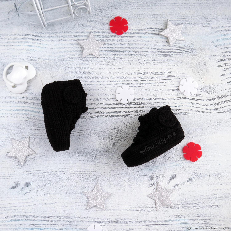 93777a479 ... Для новорожденных, ручной работы. Пинетки кеды вязаные для мальчика,  черный, 0- · Для новорожденных, ручной работы. Ярмарка Мастеров - ручная  работа.