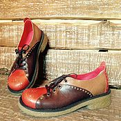 """Обувь ручной работы. Ярмарка Мастеров - ручная работа Кожаные полуботинки """"70-ые"""". Handmade."""
