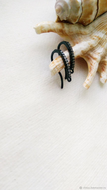 Для украшений ручной работы. Ярмарка Мастеров - ручная работа. Купить Швензы крючки чёрные с цирконием. Handmade. Черный