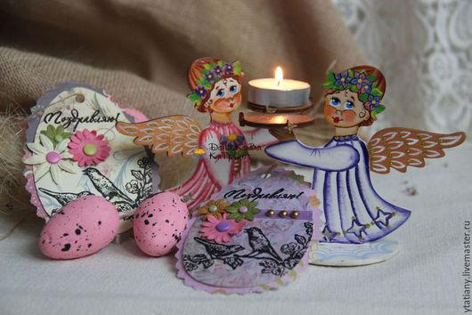 Подарки на Пасху ручной работы. Ярмарка Мастеров - ручная работа. Купить Пасхальный ангел-подсвечник. Handmade. Ангел, подсвечники