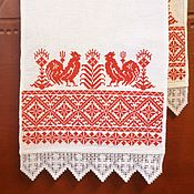 handmade. Livemaster - original item Towel with roosters. Handmade.