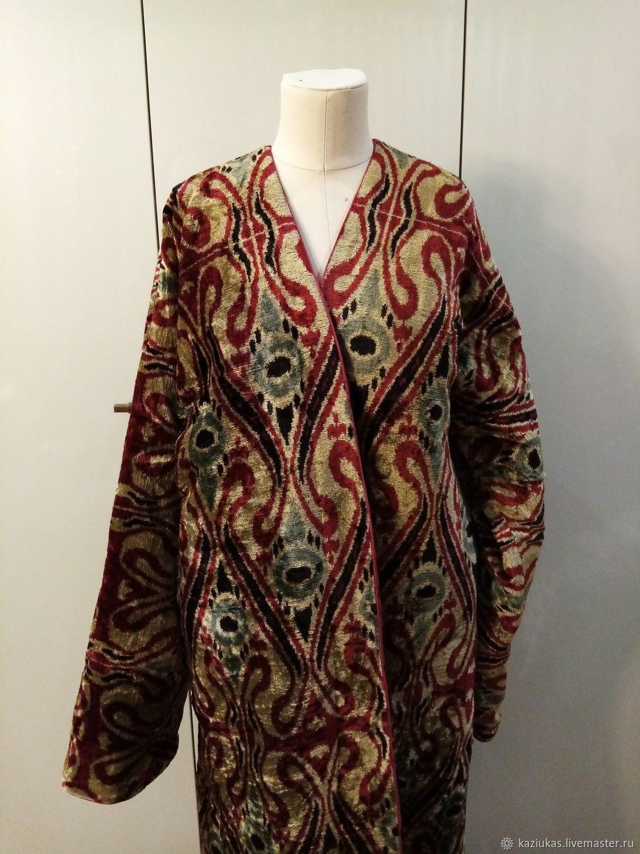 Silk velvet caftan made of ikat. Uzbek chapan. boho coat, Coats, Odintsovo,  Фото №1