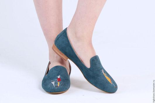 """Обувь ручной работы. Ярмарка Мастеров - ручная работа. Купить SALE! Замшевые слипоны """"Чудо человечки"""". Handmade. Тёмно-бирюзовый"""