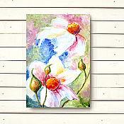 """Картины и панно ручной работы. Ярмарка Мастеров - ручная работа Картина """"Космея. Белые цветы 2"""". Handmade."""