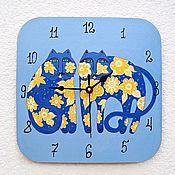 Для дома и интерьера handmade. Livemaster - original item Painted Cats wall clock, clock, handmade. Handmade.