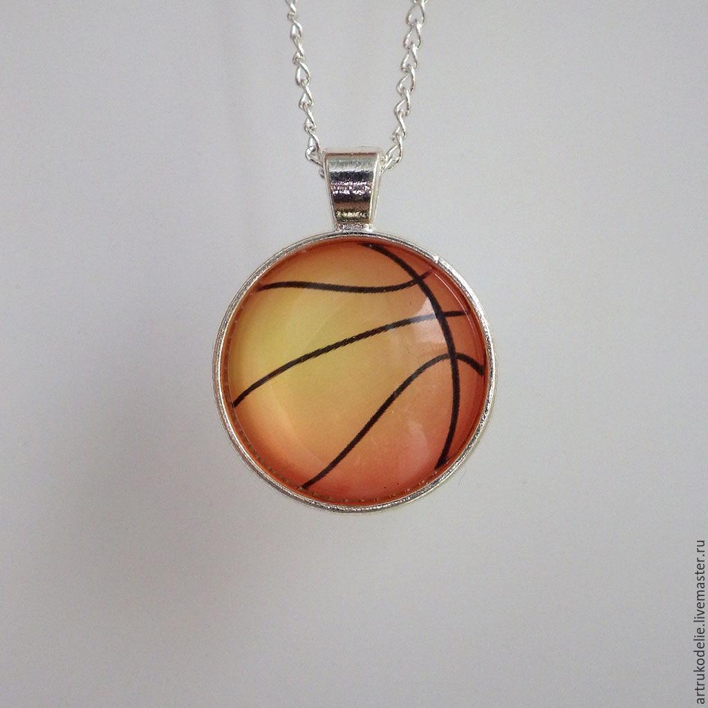 aec7ab47 Кулон Баскетбольный мяч выполнен из фурнитуры серебряного цвета. Украшение  на тему спорт, баскетбол.