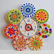 """Для дома и интерьера handmade. Livemaster - original item Часы настенные из стекла, фьюзинг часы """"Миллефиори"""". Handmade."""