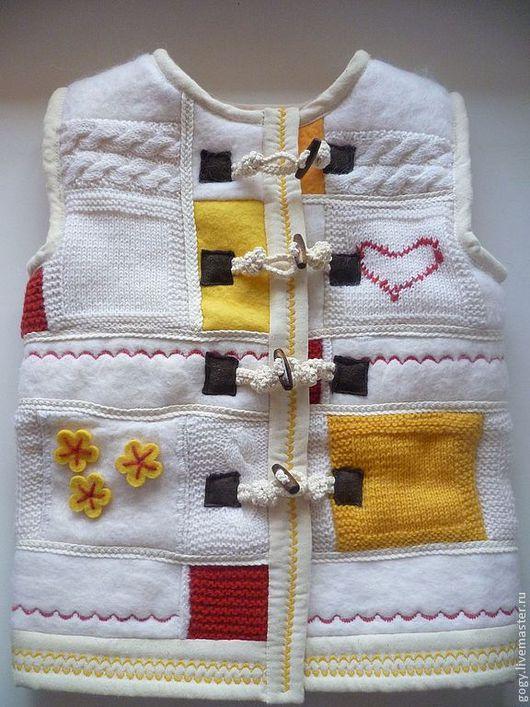 Одежда для девочек, ручной работы. Ярмарка Мастеров - ручная работа. Купить Жилет детский. Handmade. Жилет, пэчворк, дерево