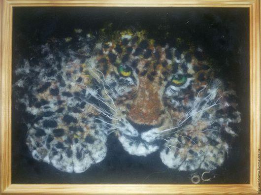 Животные ручной работы. Ярмарка Мастеров - ручная работа. Купить Леопард.Шерстяная живопись.. Handmade. Коричневый, подарок мужчине