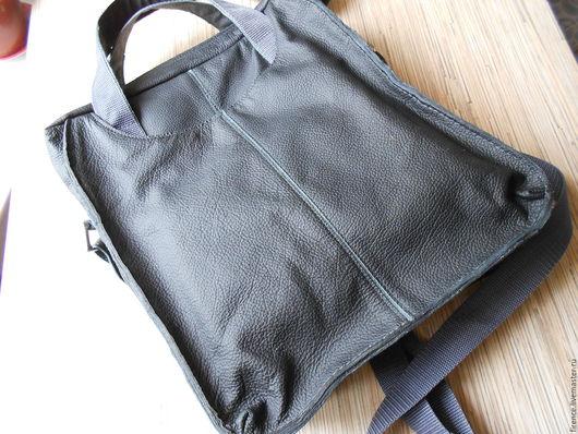 Мужские сумки ручной работы. Ярмарка Мастеров - ручная работа. Купить Мужская кожаная сумка Серая. Handmade. Серый, кожа