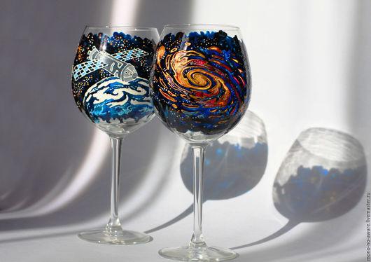 """Бокалы, стаканы ручной работы. Ярмарка Мастеров - ручная работа. Купить Бокалы для вина """"Космические дали"""". Handmade. Тёмно-синий"""