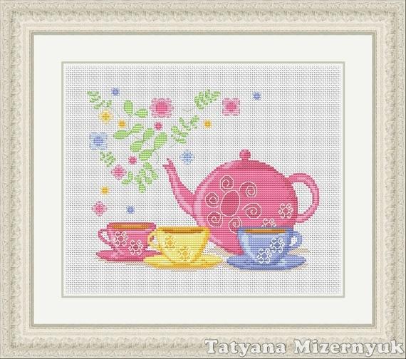 """Вышивка ручной работы. Ярмарка Мастеров - ручная работа. Купить Схема для вышивки крестиком """"Цветочный чай"""". Handmade. Вышивка крестом"""