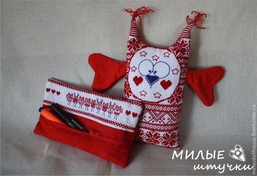"""Детские аксессуары ручной работы. Ярмарка Мастеров - ручная работа. Купить текстильный набор """"Совёнок"""". Handmade. Ярко-красный, подарок"""
