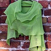 Аксессуары ручной работы. Ярмарка Мастеров - ручная работа Шарф льняной Ярко-зелёный 60 x 200cm. Handmade.