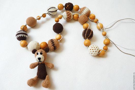 Детская бижутерия ручной работы. Ярмарка Мастеров - ручная работа. Купить Слингобусы с Шоколадная фантазия с мишкой, вязаные бусы. Handmade.