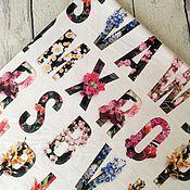 Ткани ручной работы. Ярмарка Мастеров - ручная работа Футер 2-нитка «Цветочные буквы». Handmade.