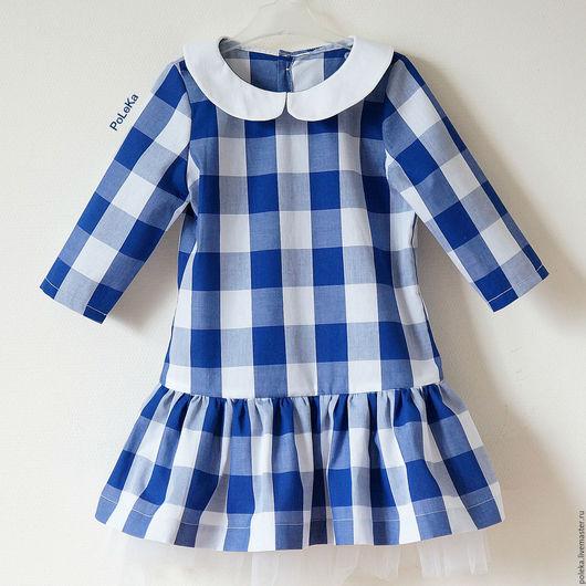 Одежда для девочек, ручной работы. Ярмарка Мастеров - ручная работа. Купить Платье для девочки в клеточку с воротничком. Handmade. Платье для малышки