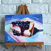 Картины и панно handmade. Livemaster - original item Oil painting Blueberry Cheesecake 18/24 cm.. Handmade.