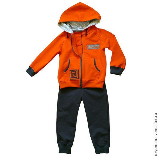 """Одежда для мальчиков, ручной работы. Ярмарка Мастеров - ручная работа. Купить Трикотажный костюм """"Лабиринт. Handmade. Оранжевый, спортивный костюм"""