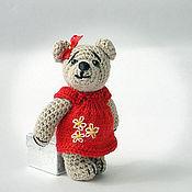 Куклы и игрушки ручной работы. Ярмарка Мастеров - ручная работа Мишка Вязаный в Красном Платье. Handmade.