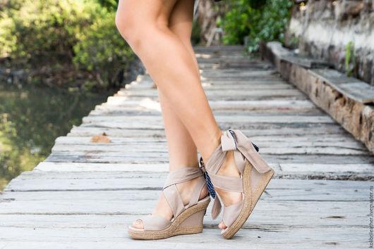 Обувь ручной работы. Ярмарка Мастеров - ручная работа. Купить Туфли из канваса и натуральной кожи Candy. Handmade. Бежевый, подарок