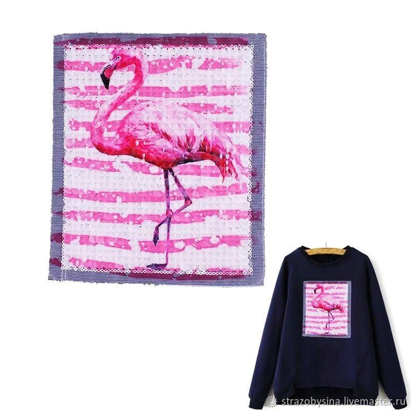 """Вышивка ручной работы. Ярмарка Мастеров - ручная работа. Купить Вышивка """"Розовый Фламинго"""". Handmade. Вышитая аппликация, как украсить одежду"""