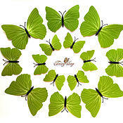 Материалы для творчества handmade. Livemaster - original item Butterfly patterned. Light green. 12 pack. Handmade.