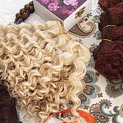 Материалы для творчества ручной работы. Ярмарка Мастеров - ручная работа 4-4.5 метра трессы мохер для кукол (блонд). Handmade.