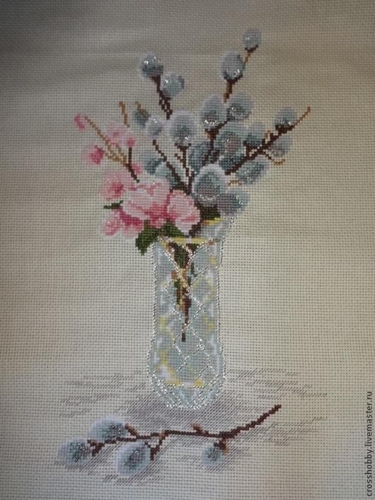 """Картины цветов ручной работы. Ярмарка Мастеров - ручная работа. Купить вышивка крестом """"Верба"""". Handmade. Вышивка крестом"""
