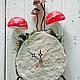 Часы для дома ручной работы. Лесные часы. Art des objets. Ярмарка Мастеров. Грибы, мухоморы