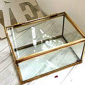 Свадебный салон ручной работы. Ярмарка Мастеров - ручная работа Для обручальных колец шкатулка стеклянная золотая с отделом для декора. Handmade.