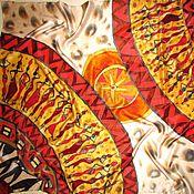 """Аксессуары ручной работы. Ярмарка Мастеров - ручная работа Батик платок """" Ритмы Африки"""" платок батик, ручная роспись по шёлку. Handmade."""