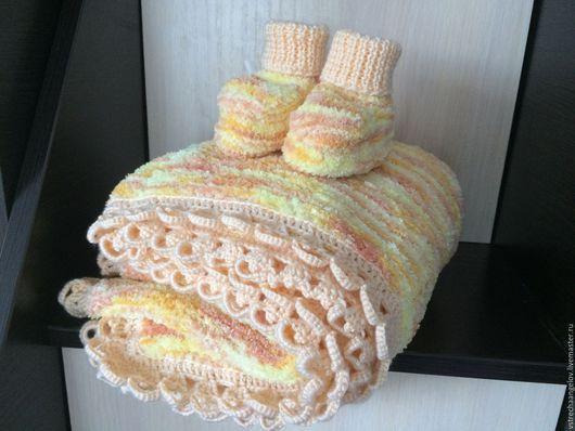 Для новорожденных, ручной работы. Ярмарка Мастеров - ручная работа. Купить Одеяло для новорожденного. Handmade. Рыжий, плед вязаный