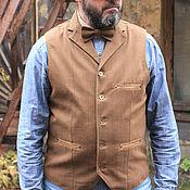 Одежда ручной работы. Ярмарка Мастеров - ручная работа Old`n`Gold 05 мужской джинсовый жилет с лацканами. Handmade.