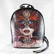Рюкзак женский кожаный  с ручной росписью из кожи Маскарад